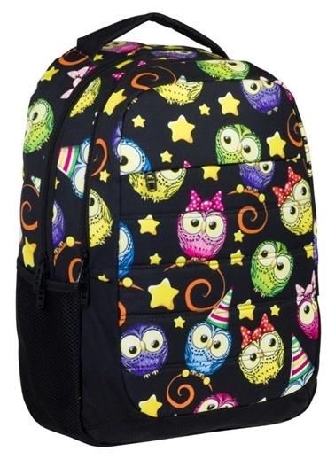 Ümit Çanta Cennec Renkli Baykuş Desenli Kız Çocuk Okul Çantası - Siyah Renkli
